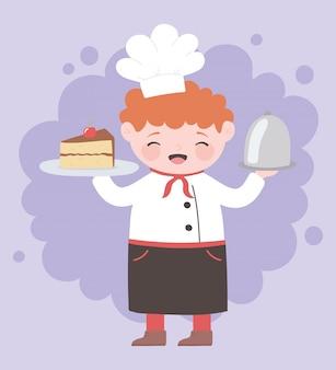 Chef garçon avec personnage de dessin animé de service gâteau et plateau