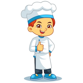 Chef garçon pouce en l'air pose.