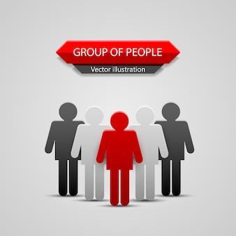 Chef de groupe de personnes. fond d'illustration vectorielle