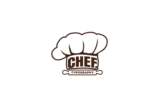 Chef hat restaurant cuisine typographie logo design vector