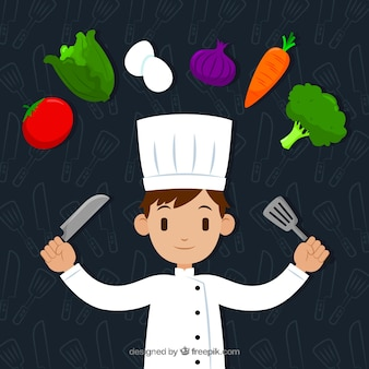 Chef heureux et ingrédients avec un design plat