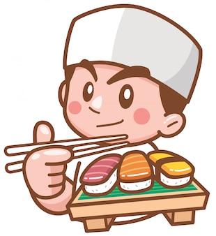 Chef japonais dessin animé présentant des sushis