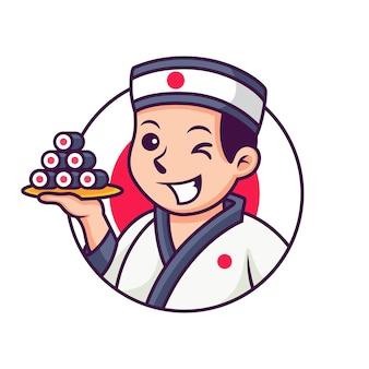Chef japonais avec dessin animé de rouleaux de sushi. icône illustration isolé