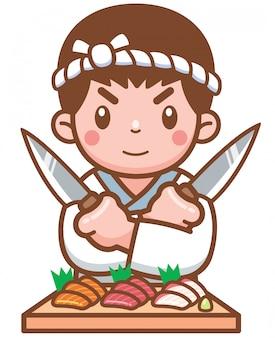 Chef japonais dessiné