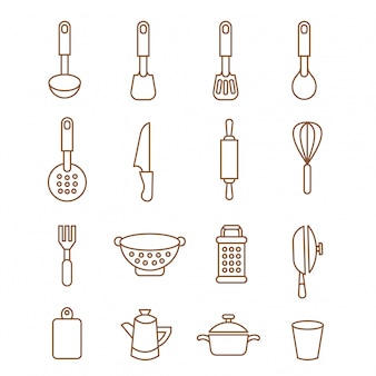 Chef de jeu d'icônes de cuisine