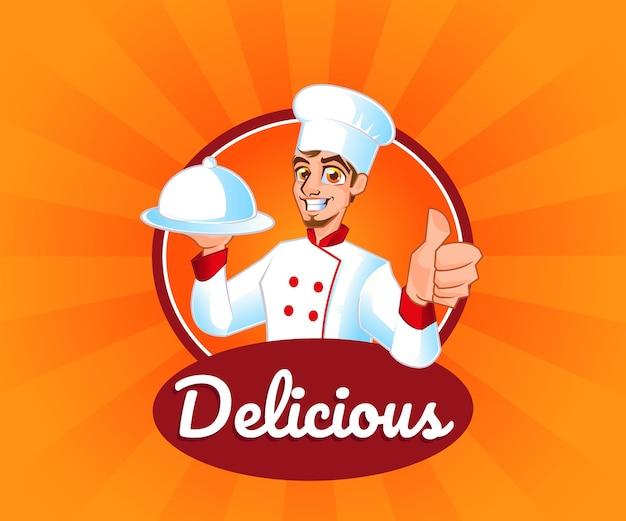 Un chef avec le logo de mascotte de nourriture délicieuse