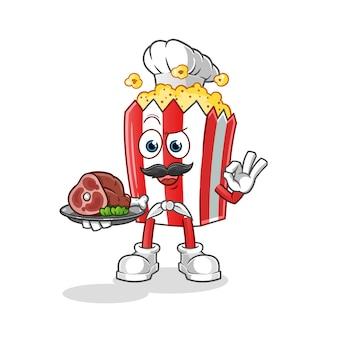 Chef de mascotte de dessin animé de pop-corn avec de la viande