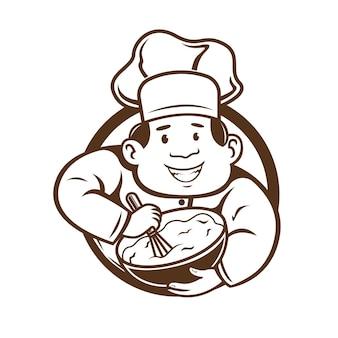 Le chef mélange le caractère du logo de la pâte