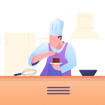 Chef met garniture sur l'illustration du gâteau