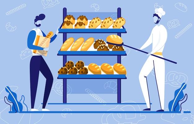 Chef mettant le pain, garçon tenant des produits.