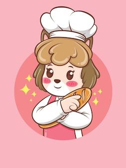 Chef mignon chien femelle étreignant un pain. concept de chef de boulangerie. personnage de dessin animé et illustration de la mascotte.