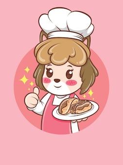 Chef mignon chien femelle tenant un gâteau. concept de chef de boulangerie. personnage de dessin animé et illustration de la mascotte.