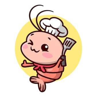 Le chef mignon de crevettes tient une mascotte de bande dessinée de haute qualité en spatule