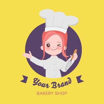 Chef mignon de femme est le personnage de cuisine. illustration dessinée à la main.