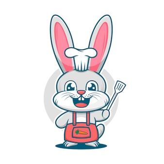 Chef mignon de lapin avec modèle de logo de mascotte de dessin animé de spatule