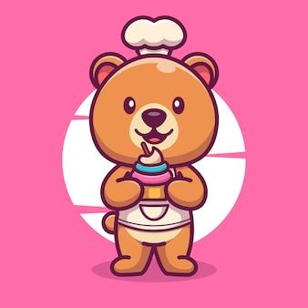 Chef mignon d'ours avec l'icône de dessin animé d'illustration de vecteur de gâteau