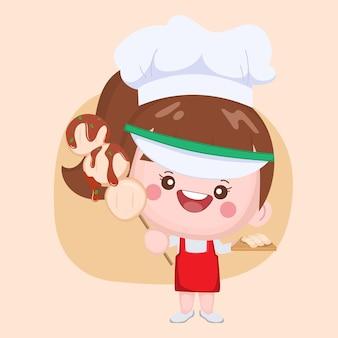 Chef mignon présentant un grill aux boulettes de viande avec une sauce épicée
