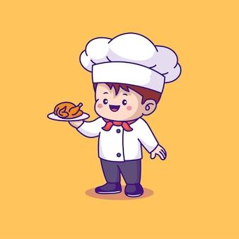 Chef mignon servant du poulet grillé isolé sur jaune