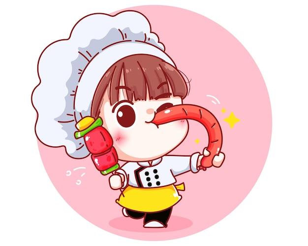Chef mignon tenant un barbecue et une illustration de dessin animé de saucisse grillée