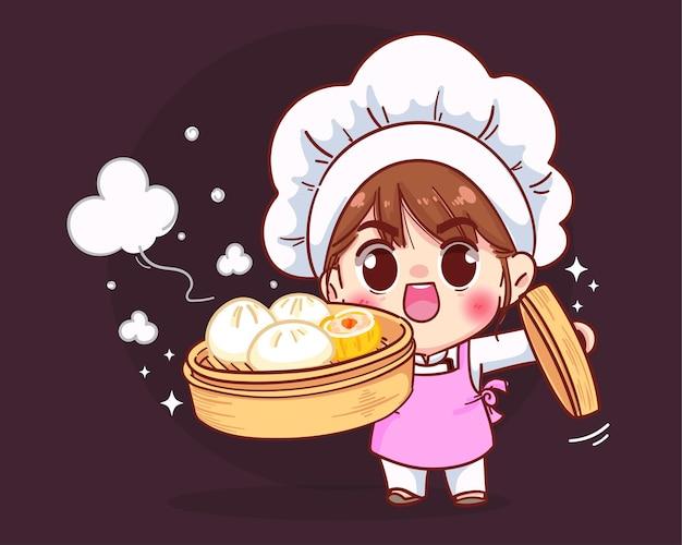 Chef mignon tenant des boulettes chinoises dim sum dans une illustration de dessin animé de vapeur en bambou