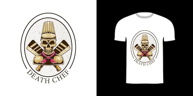 Chef de mort illustration rétro pour la conception de tshirt