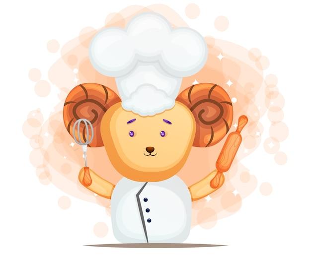 Chef de mouton mignon tenant illustration de dessin animé de fouet et rouleau à pâtisserie