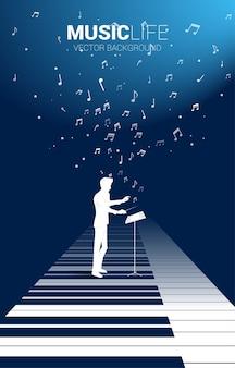 Chef d'orchestre debout sur une touche de piano avec note de musique volante.