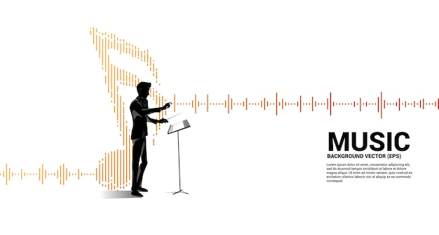 Chef d'orchestre avec égaliseur wave comme note de musique.