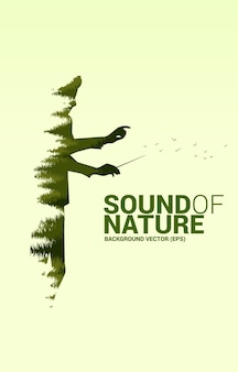 Chef d'orchestre de musique de vecteur avec la forêt verte. concept de fond pour la musique pour le temps naturel et printanier.