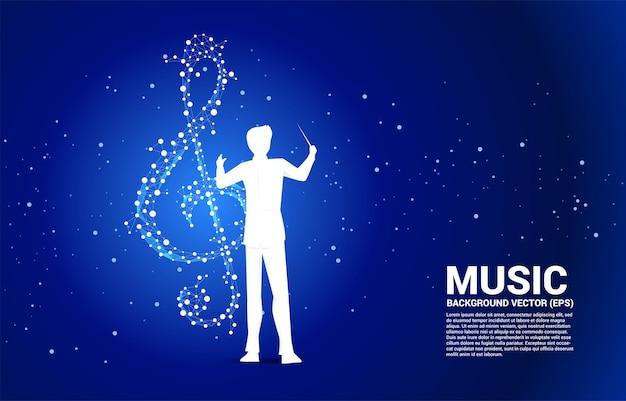 Chef d'orchestre avec note clé de musique sol à partir de la ligne de connexion par points.