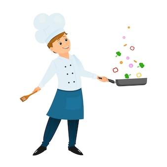 Chef avec une poêle à frire. illustration vectorielle isolé