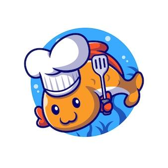 Chef de poisson mignon avec illustration de dessin animé de spatule. concept de profession animale isolé. style de bande dessinée plat
