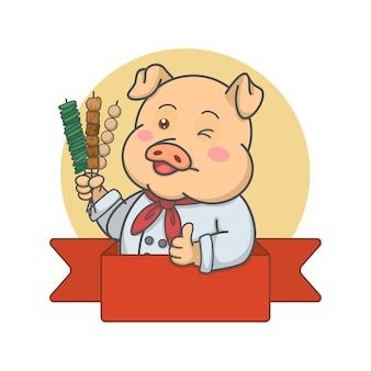Chef de porc mignon tenant des brochettes