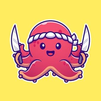 Chef de poulpe tenant illustration d'icône de dessin animé de couteau.