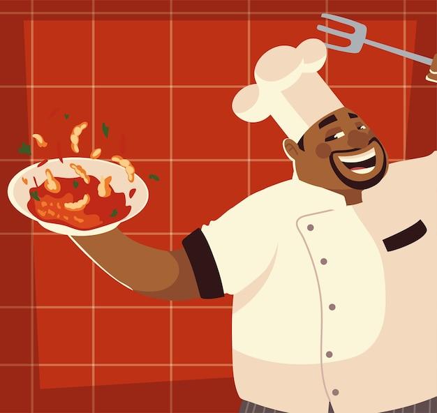 Chef préparant illustration de conception de restaurant soupe recette
