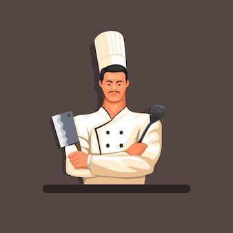 Chef prêt à cuisiner le concept de mascotte de personnage de personnage en illustration de dessin animé