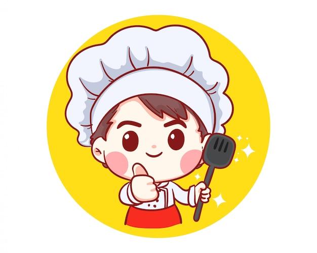 Chef professionnel avec des aliments en mains, occupation, cuisine, menu, cuisine, vaisselle, cuisine, boulangerie logo illustration art dessin animé.