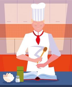 Chef professionnel cuisinant dans la scène de la cuisine
