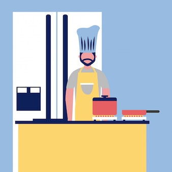 Chef professionnel cuisinant