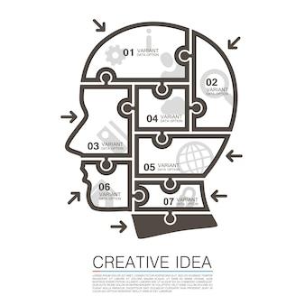 Chef de puzzles info art. illustration vectorielle
