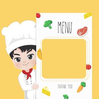 Chef recommande le menu de la nourriture,