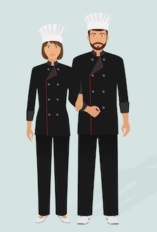 Chef de restaurant et cuisinier en uniforme. couple de personnages du personnel du service de restauration. hôtel accueillant.