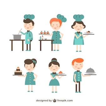Chef et serveuse dessins animés