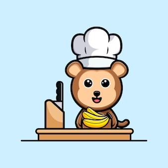 Chef de singe mignon avec mascotte de dessin animé de banane