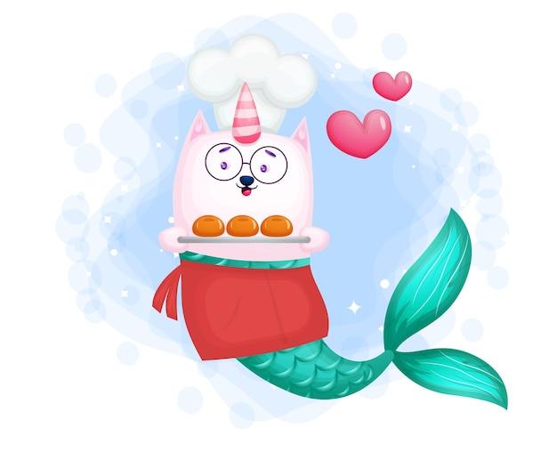 Chef de sirène souriant mignon portant le personnage de dessin animé de pain
