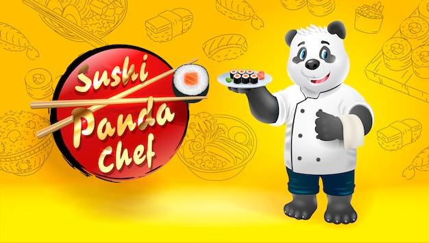 Chef sushi panda. clip art illustration