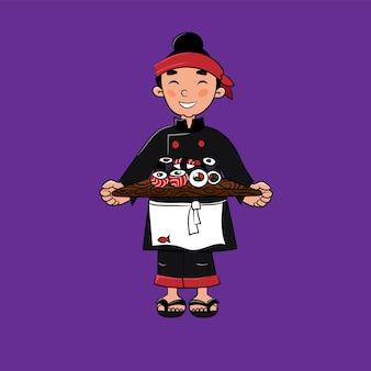 Chef de sushi avec des rouleaux de sushi dans ses mains restaurant japonais sashimi illustration vectorielle isolée