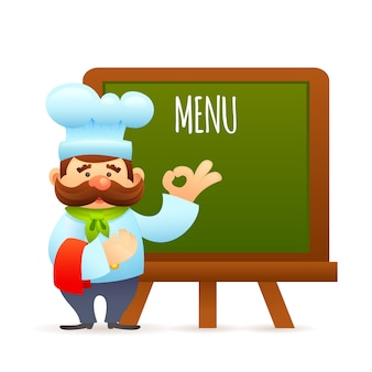 Chef avec tableau de menu