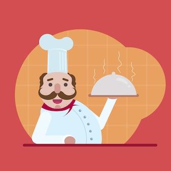 Chef tenant un plateau chaud