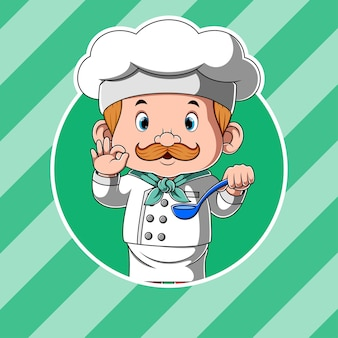 Chef tenant la soupe à la cuillère et pour des plats délicieux